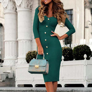Elegant Ladies V-Neck Buckle Bag Hip Split Three-Quarter Sleeve Bodycon Dresses