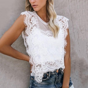 Women Casual Lace See-Thorugh Round Neck Tank Top