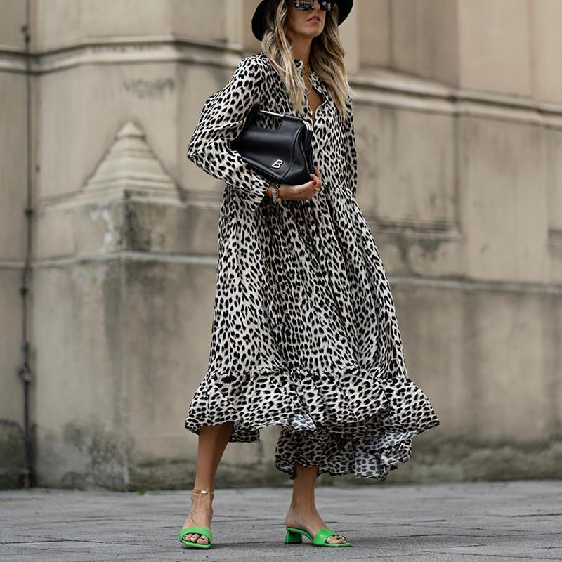 Casual Animal Printed Long Sleeve Dress