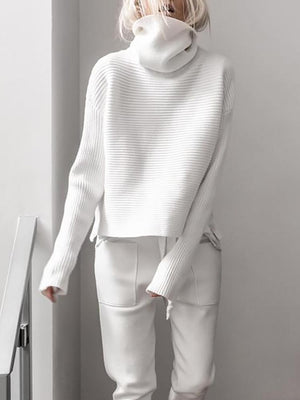Women Brief High Collar Long Sleeve Pure Colour Loose Sweater