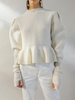 Women Cute Short High Collar Long Sleeve Pure Colour Sweater