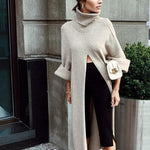 Casual High Slit Heap Collar Loose Long Sleeve Sweater