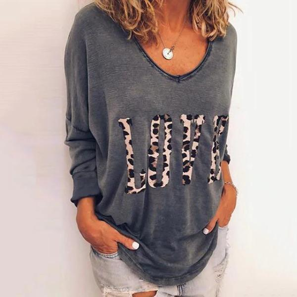 Women Casual Round Neck Long Sleeve Leopard Printed T-Shirt