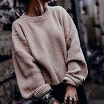 Women Casual Round Neck Long Sleeve Pure Colour Sweaters