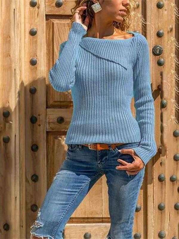 Women Casual Pure Color Slim Long Sleeve Knitted Sweater