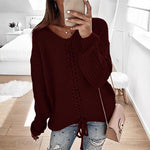 Casual Solid Color V-neck Crossover Bandwidth Long Sleeve Sweater