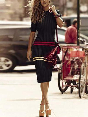 Women Autumn And Winter Striped Stretch Bottom Dress Bodycon Dress