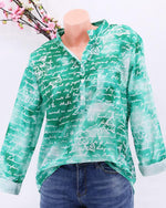 Casual Plus Size Stand Collar Letter Printed Blouse - nayachic