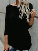 Women Cross Back V-Neck Long Sleeve Fashion Pullover Sweater