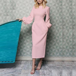 Women Elegant Plain Lantern Sleeve Round Neck Dress