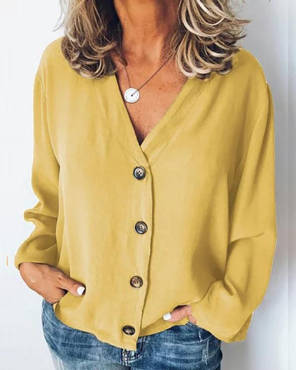 Casual Button Solid Color Women Blouse - nayachic
