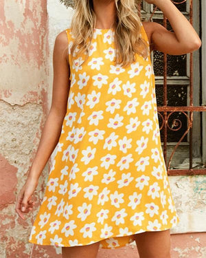 Women Casual Sleeveless Crew Neck Printed Dress - nayachic