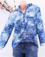 Casual Plus Size Stand Collar Letter Printed Blouse
