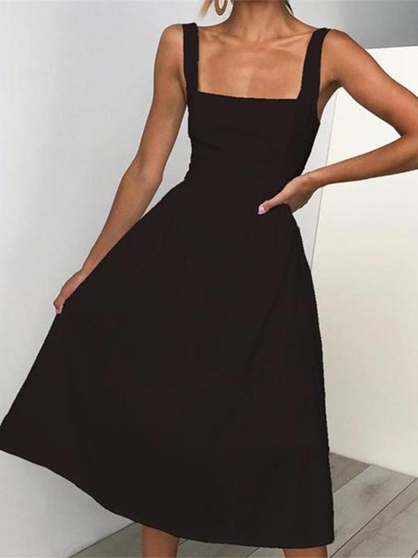 Women Sexy Open Backed Sling Dress