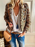 Women Autumn And Winter   Fashion Printing Family Style Jacket