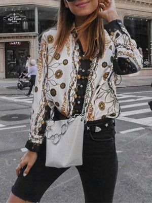 Women Autumn And Winter   Fashion Printing Long-Sleeved Shirt