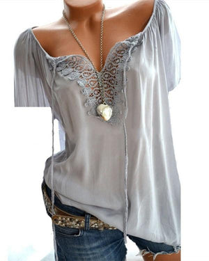 Casual Solid V Neck Short Sleeve Lace Blouse Tops - nayachic