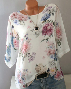 Crew Neck Half Sleeve Casual Floral Printed Blouse - nayachic