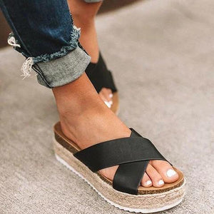 Women Plus Size Peep Toe Platform Sandals Slip-On Slippers - nayachic