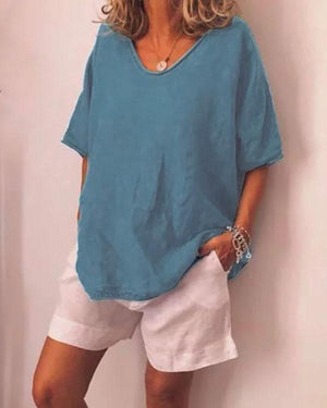 Plus Size V Neck Pure Color Summer Simple T-Shirts