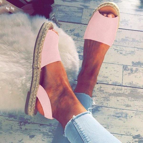 Summer Espadrilles Fashion Peep Toe Sandals Flat Sandals - veooy