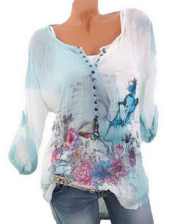 Women's Basic Plus Size Floral Printed Blouse - nayachic