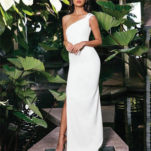 Women Casual Sexy Backless Shown Thin Off Shoulder Maxi Dress