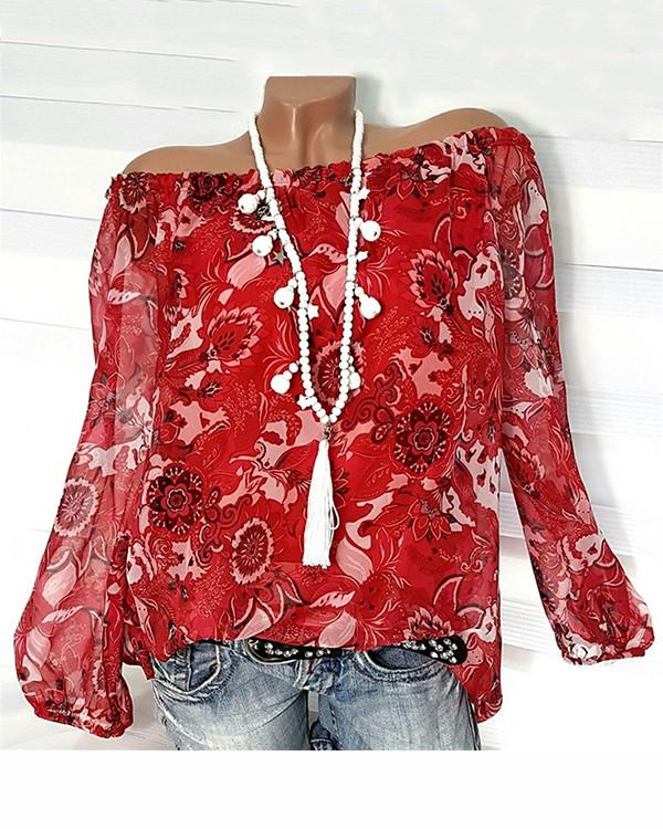 Floral Printed Off Shoulder Plus Size Women Long Sleeve Blouse Tops - nayachic