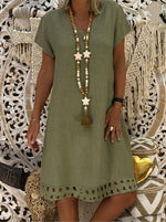 V Neck Women Summer Dresses A-Line Casual Dresses - nayachic