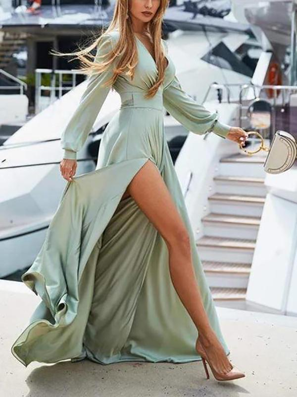 Women Bohemian V Neck Long-Sleeves Maxi Dress