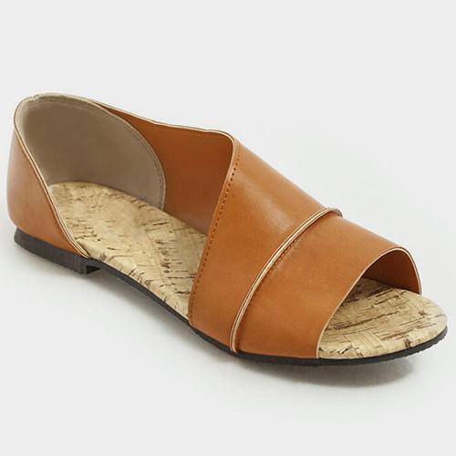 Solid Slide Round Toe Sandals - nayachic