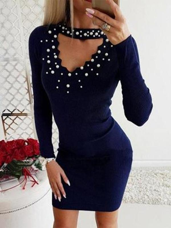 Women Beading  Plain Bodycon Dresses