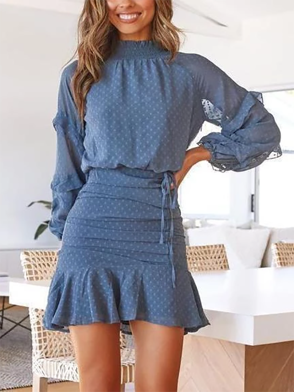 Women Long Sleeve Printed Mini Dress