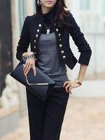Women Casual Long Sleeve Pure Colour Slim Small Suit