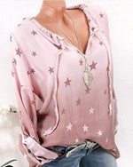 Star Print Casual Plus Size V Neck Blouse - nayachic