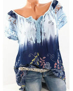 Plus Size Casual V Neck Short Sleeve Painted Blouses - nayachic