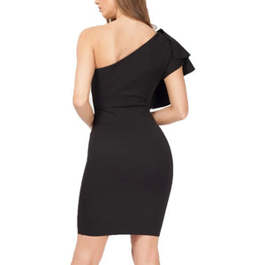 Women Casual Sexy Flouncing Slanted Shoulder Mini Dress
