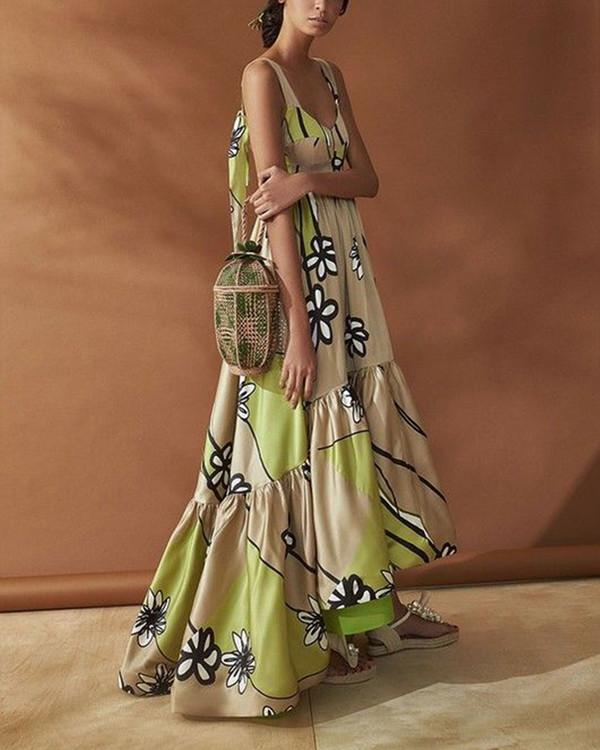 Elegant Stylish Sleeveless Floral Print Maxi Dress - nayachic