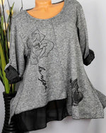 Rose Casual Crew Neck Tops Long Sleeve Women Blouse