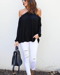 Sexy Off Shoulder Solid Color Long Sleeve Blouse