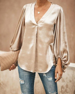 Fashion V Collar Plain Lantern Sleeve Loose Blouses - nayachic
