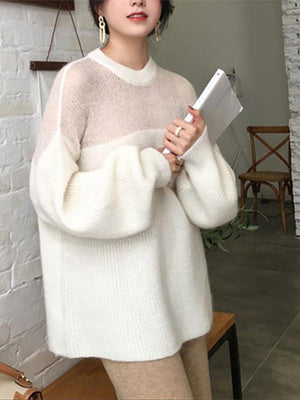 Women Casual Bishop Sleeve Round Neck Mohair Loose Sweater