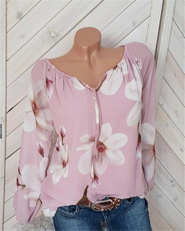 V Neck Elegant Women Blosssom Tops