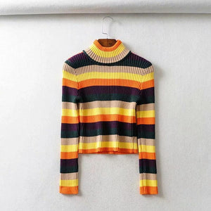 Women Boho High Collar Color Stripe Short Sweater