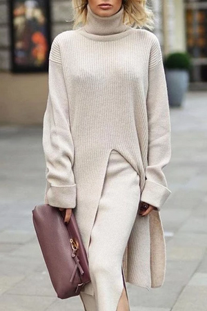 Women Casual Solid Color High Collar Long Sleeve Split Long Sweater