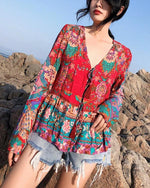 Floral Loose Long Sleeves Lace Up Blouses Shirt Bohemian Tops - nayachic