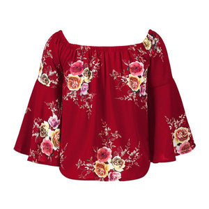 Blouse Fashion Floral Neck Tray Casual Summer Pink Woman