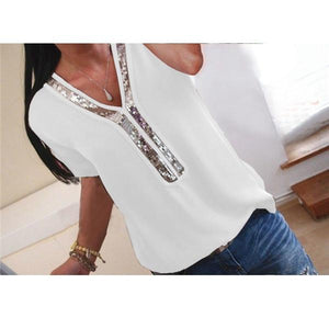 Plus Size  Short Sleeve Solid Color Tops Joint V Neck Blouse