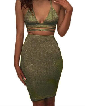 Sexy Sparkly Bandage Bodycon Halter Deep V Party Dress - nayachic