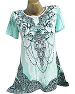 Plus Size Printed Round Neck Short Sleeve Women Blouse